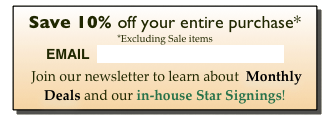 Save 10% off your entire purchase*  *Excluding Sale items EMAIL  contact@cuckoos-nest.com       Join our newsletter to learn about  Monthly Deals and our in-house Star Signings!
